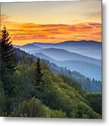 Great Smoky Mountains National Park - Morning Haze At Oconaluftee Metal Print by Dave Allen