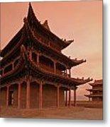 Great Wall Pagoda At Sunset Metal Print