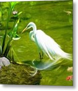 Great White Egret Bird With Deer And Fish In Lake  Metal Print