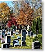 Greece Fall Cemetery Metal Print