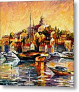 Greek Day - Palette Knife Oil Painting On Canvas By Leonid Afremov Metal Print