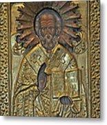 Greek Icon Of Saint Nicolas  Metal Print