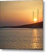 Greek Island Sunset Metal Print