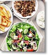 Greek Salad With Gyros And Fries Metal Print
