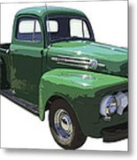 Green 1951 Ford F-1 Pick Up Truck Illustration  Metal Print
