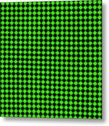 Green And Black Checkered Pattern Cloth Background Metal Print