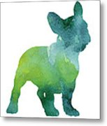 Green And Blue Abstract French Bulldog Watercolor Painting Metal Print
