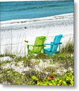 Green And Blue Chairs Metal Print