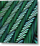 Green And Blue Folds Metal Print