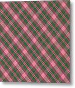 Green And Pink Diagonal Plaid Pattern Textile Background Metal Print