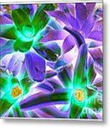 Green And Purple Cactus Metal Print