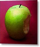 Green Apple Nibbled 1 Metal Print