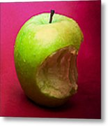 Green Apple Nibbled 3 Metal Print