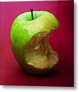 Green Apple Nibbled 5 Metal Print