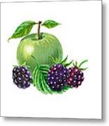 Green Apple With Blackberries Metal Print