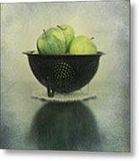 Green Apples In An Old Enamel Colander Metal Print