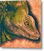 Green Basilisk Lizard Metal Print