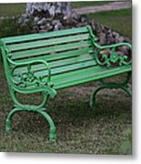 Green Bench Metal Print