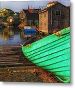 Green Boat Peggys Cove Metal Print