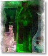 Green Bottle Photo Art Metal Print