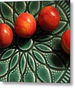 Green Bowl Red Marbles Metal Print
