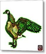 Green Canada Goose Pop Art - 7585 - Wb Metal Print