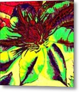 Green Clematis Flower Metal Print