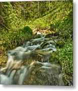 Green Colors And A Stream Hdr Metal Print