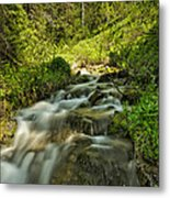 Green Colors And A Stream Metal Print