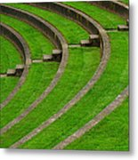 Green Curves And Steps Metal Print