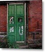 Green Door On Red Brick Wall Metal Print