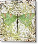 Green Dragonfly On Vintage Tin Metal Print
