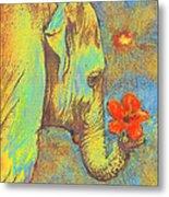 Green Elephant Metal Print