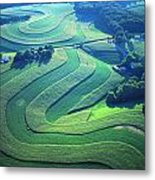 Green Farm Contours Aerial Metal Print by Blair Seitz