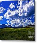 Green Field Of Clouds Metal Print