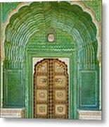 Green Gate In Pitam Niwas Chowk Metal Print
