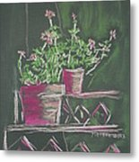 Green Geraniums Metal Print by Marcia Meade