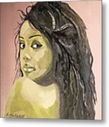 Green Girl  Metal Print by Roger Medcalf