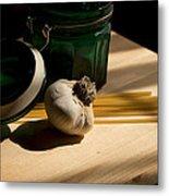 Green Glass And Garlic Metal Print