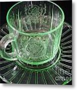 Green Glass Cup And Saucer Metal Print