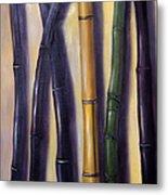 Green Gold And Black Bamboo Metal Print