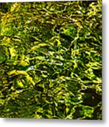 Green Gold Water Abstract. Feng Shui Metal Print by Jenny Rainbow