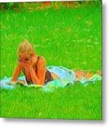 Green Grass Girl Metal Print