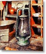 Green Hurricane Lamp In General Store Metal Print