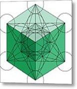Green Hypercube Metal Print