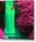 Green Irish Waterfall Surrounded By Pink Metal Print