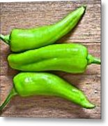 Green Jalapeno Peppers Metal Print