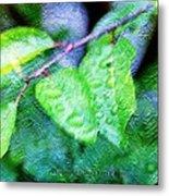 Green Leaf As A Painting Metal Print