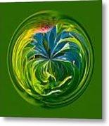 Green Leaf Orb Metal Print