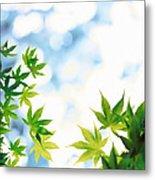 Green Leaves On Mottled Cloudy Sky Metal Print